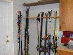 Secure ski storage in garage