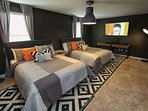 Newly Converted Bedroom with Two (2) King Size Beds and Flatscreen TV