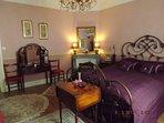 Luxurious Rose bedroom, super king bed, chaise longer ( suitable for infant ). En suite shower room.