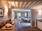 spacious Tuscan kitchen and indoor eating place