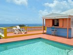 Pool side deck with cabana overlooking Ocean and Guana Bay Beach