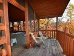 Relax in the Hot Tub  and Enjoy the Fresh Mountain Air on the Private Screened in Porch and Balcony
