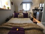 Small double sofa bed with quality mattress topper and bedding - The Annex at Birch House