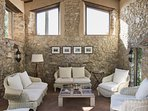 Come together in the outdoor lobby - read, talk, dream on wicker sofas and seats