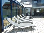 Sunloungers on the decking for soaking up the sun!