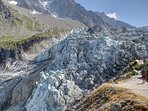 World famous local attraction, Glacier Argentiere is in short walk from the top of Lognan cable car.
