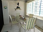 Balcony dining with constant breezes Leave the grates open during your stay.