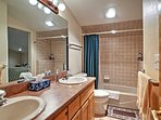 There's plenty of space for 2 to get ready in the spacious bathroom!