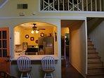 Kitchen, stairs to bedroom, loft, Foosball