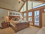 The master bedroom has unobstructed views of Mt. Baldy, a fireplace and access to the spacious side deck!
