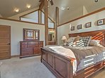 The master bedroom has vaulted ceilings, walk-in closet and large bathroom.