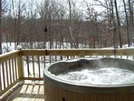 Hot tub in the winter, the best time