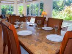 Settle in for a meal at the large granite dining table