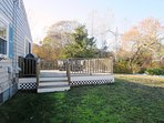 Deck is conveniently located just off kitchen-  10 Homer Road Harwich Port Cape Cod New England Vacation Rentals