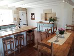 Open plan kitchen and large dinning table