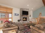 Relax On Overstuffed Couches In Front Of The Fire With New TV