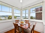 The dinning nook with stunning views over Launceston and The Tamar river.