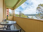 The verandah overlooking the city, a great place to sit and relax with a glass of  Tasmanian wine.