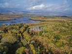 Private 'boreen' to the house, overlooking the water, towards Sneem village and the mountains.