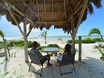 Enjoy a little shade under the Palapa for Happy Hour or morning coffee
