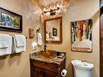 Freshly Minted Main Level Full Hall Bath w New Cabinet, Granite Countertop, Vessel Sink, Mirrored Medicine Cabinet...