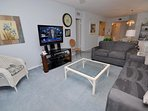 Living area with flat screen HD TV
