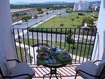 The breakfast terrace, with views towards Murcia.