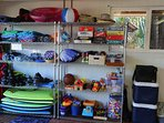 Snorkel equipment, boogie boards, beach chairs, coolers, tennis rackets, games, toys, and more