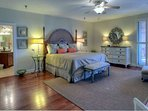 Master Bedroom is spacious and luxurious, featuring king bed, flatscreen tv, and private bath!