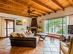 Living room with TV and wooden ceilings