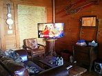 Den area with new big 47 inch flat screen 3-D TV!