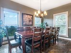 Dining room with seating for 10, slate floors, and views of Table Rock Lake!