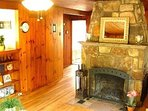 Large riverstone fireplace to warm your evenings.