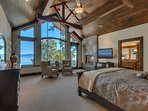 On the third floor you'll find the master bedroom, as well as more incredible views, giant windows, and high ceilings.