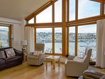 Sit back and relax in reclining leather sofas and enjoy the views of the River Dart