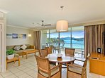 Relaxed open-plan kitchen/dining area, with newly renovated kitchen space and ocean views.