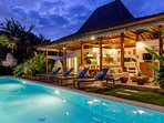 Villa exterior, living area, sun deck and private swimming pool