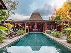 Villa exterior and 3M x 12M large swimming pool