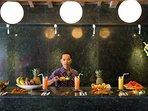 Wooden Villa bar and kitchen