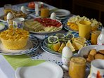 We prepare and offer complimentary breakfast with tasty regional goodies and tropical fruits.