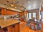 Inside, find all of the comforts of home, like the fully equipped kitchen.