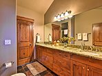 The 'Jack n Jill' bathroom is large enough for many people to get ready.