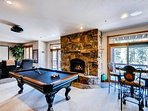 Rec Room with billiards, wet bar and gas fireplace