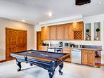Rec Room on Lower Level with Billiards Table,
