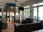 Downstairs living room area - Facing sandy beach