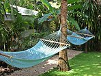 Comfortable hammocks in the garden