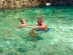 Safe swimming in crystal clear water