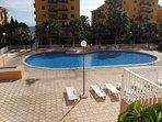 En este apartamento podrás disfrutar de una gran piscina con hamacas, duchas y baños, también consta