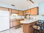 Full kitchen, fully stocked so you can cook a feast or mix up some refreshments.