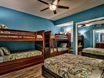Bunk room = QUEEN plus TWO sets of twin bunks! Private bathroom with walk-in shower.